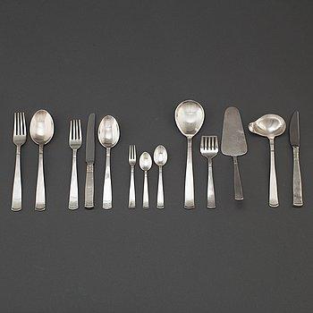 """JACOB ÄNGMAN, bestickservis, 116  delar, silver, """"Rosenholm"""", GAB Stockholm och Eskilstuna, 1900-talets andra hälft."""
