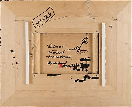 Kimmo pyykkö, trä och färg, a tergo signering.