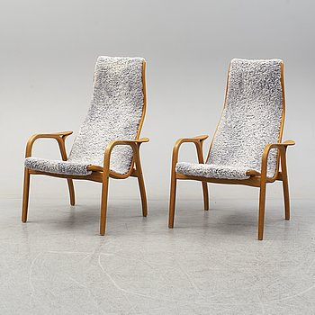 YNGVE EKSTRÖM, a pair of 'Lamino' easy chair and stool.