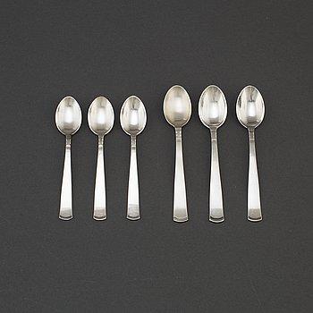 """JACOB ÄNGMAN, skedar 12+12 st, silver, """"Rosenholm"""", GAB Stockholm och Eskilstuna, 1900-talets andra hälft."""