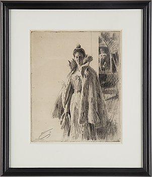 ANDERS ZORN, etsning, 1900, signerad Z i blyerts.