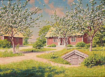 513. Johan Krouthén, Sunny landscape with red cottage.