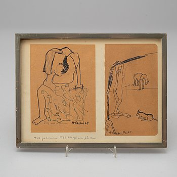HANS VIKSTEN, drawings, mixed media, signed and dated 64 and 12/11 65.