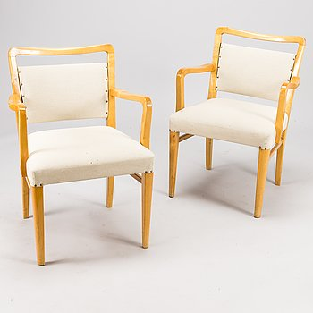 """WERNER WEST, KARMSTOLAR, ett par, sk. """"Motti""""-stol, Kervo snickerifabrik. Modellen formgiven på 1930-talet."""