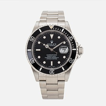 ROLEX, Oyster Perpetual Date, Submariner (1000ft=300m, SWISS MADE), Chronometer, armbandsur, 40 mm.