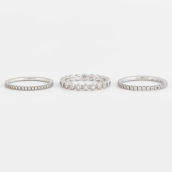 GEORG JENSEN, Three rings, 18K white gold with brilliant-cut diamonds.