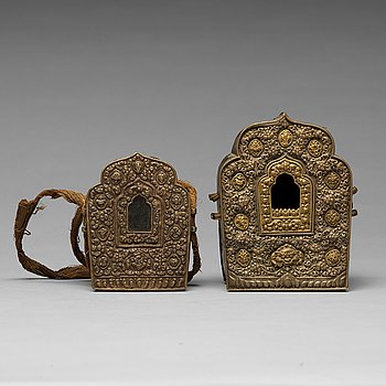 Two Tibetan travel cases/shrines, 19th Century.