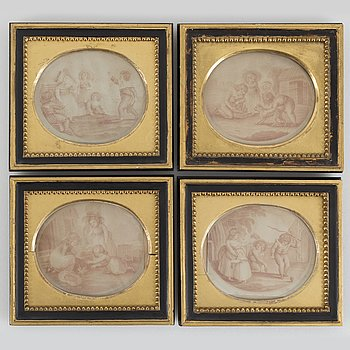 A set of four late gustavian frames with engravings.