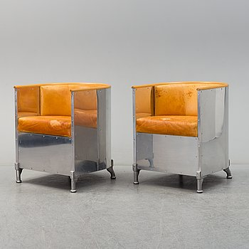 A pair of 'Aluminum' easy chairs by Maths Theselius, Källemo.