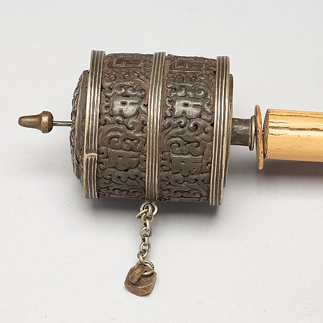 A set of three tibetan prayer rolls, 19th century.