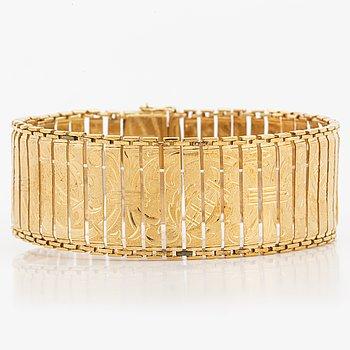ARMBAND, 18K guld i sammanlänkade stavar med graverad dekor.