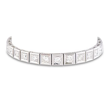 ARMBAND, briljantslipade diamanter, platina.