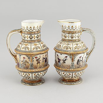 A pair of majolica jugs by Rörstrand, early 20th century.