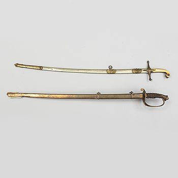 SABLAR, 2 st, omkring 1900, för officer, av brittisk typ för Kungadömet Siam.