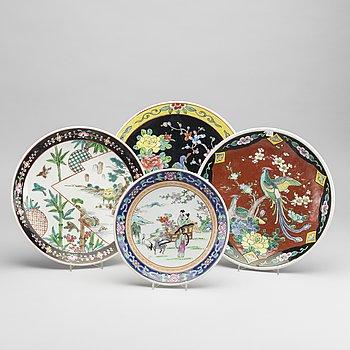 A set of four Japanese porcelain plates.
