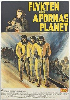 """""""FLYKTEN FRÅN APORNAS PLANET"""", filmaffisch, Tryckeri AB Småland -Jönköping 1971."""