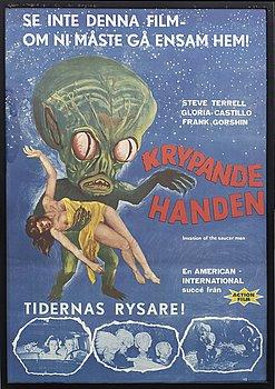 """""""DEN KRYPANDE HANDEN"""" filmaffisch, HB Bok-Lito AB Borås. 1957."""