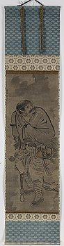 RULLMÅLNING, akvarell och tusch på papper. Japan, 1800-tal.