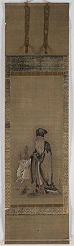 KANO TSUNENOBU, efter, tusch och färg på papper, sent 1800-tal.