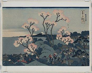 ANDO UTAGAWA HIROSHIGE, färg träsnitt, sex stycken, samt HOKUSAI, färg träsnitt, Japan, 1900-tal.