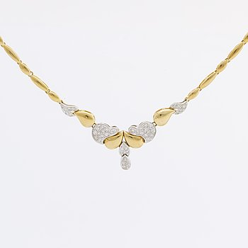 NECKLACE 18K gold and whitegold w brilliant-cut diamonds approx 0,5 ct.