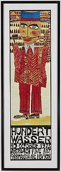 FRIEDENSREICH HUNDERTWASSER, exhibition poster, 1973.