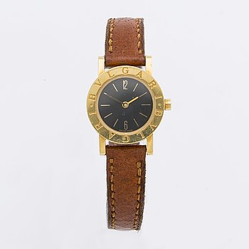BVLGARI, wristwatch, 18K gold, 23 mm, Ref nr BB 23 GL, black dial, quartz.