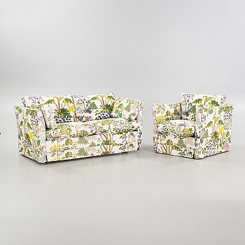 A late 20th sofa and armchair.