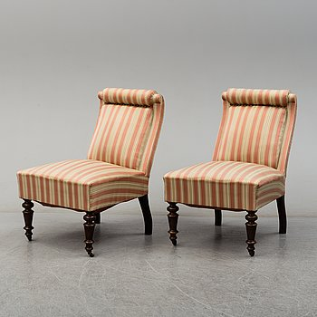 A pair of easy chairs, late 19th Century.