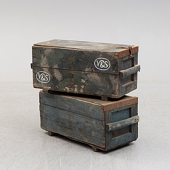 Two wooden boxes, early 1900's.