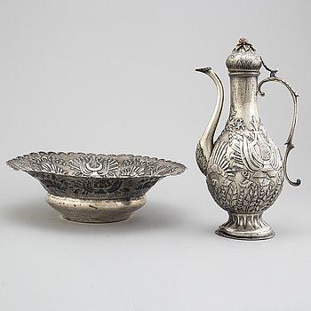 Vattenkanna med Fat, silver, Turkiet 1920-tal. Osmanska riket.