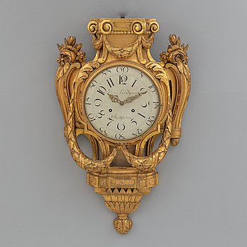 VÄGGPENDYL, gustaviansk, Eric Lindgren, Stockholm, 1700-talets slut.