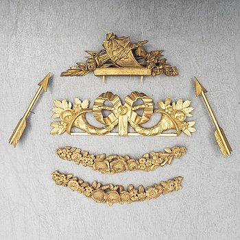 DEKORDELAR, 5 delar, trä, Sverige, 1700-tal och 1800-tal.