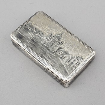 A Russian 19th century parcel-gilt silver and niello snuff box, mark possibly of Fyedor Maksomov, Moscow.