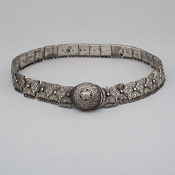 a niello silver belt, Russia 1908-1917.