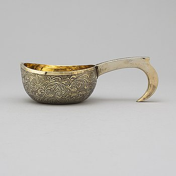 A Russian 19th century silver-gilt charka, mark of Jacob Wiberg, Moscow 1847.