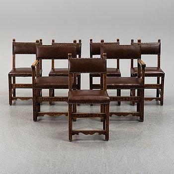 Seven circa 1900 chairs.