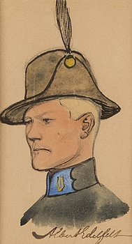 "195. Albert Edelfelt, ""SKETCH FOR UNIFORM FOR HELSINKI MUSIC CORPS""."