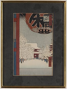 ANDO UTAGAWA HIROSHIGE, färg träsnitt, sex stycken, UTAMARA, samt SHARAKU, två stycken. Japan, 1900-tal.