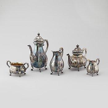 KAFFESERVIS, 5 delar, silver, nyrokokostil, H Bay-Christensen, Köpenhamn/Fredriksberg, Danmark  (1937-1967).