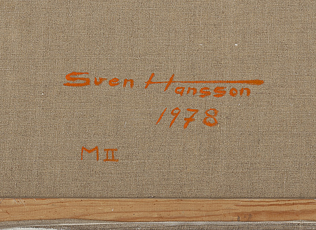 Sven axel hansson, oil on canvas, signed and dated 1978 à tergo