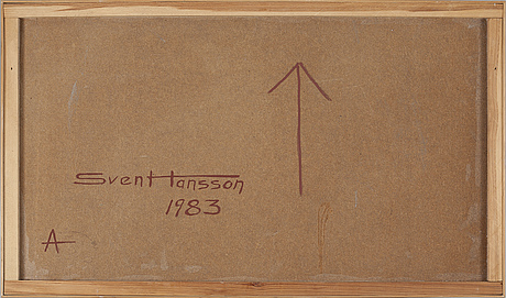 Sven axel hansson, oil on panel, signed and dated 1983 à tergo.
