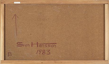 Sven hansson, olja på pannå, signerad och daterad 1983 à tergo.