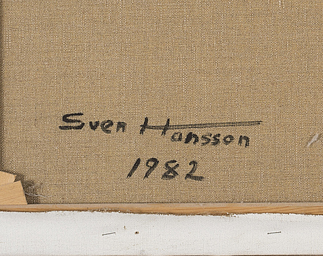 Sven hansson, oil on canvas, signed, and dated 1982 à tergo