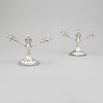 CANDELABRA, a pair, sterling silver, Mexico. Second half of the 20th century.