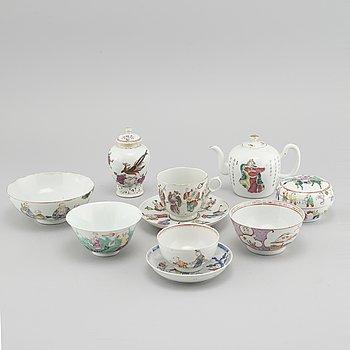 TESERVIS, 8 delar, porslin, Kina, 1700/1800-tal.
