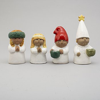 LISA LARSON, four stoneware figurines from Gustavsberg.