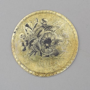 A Russian early 19th century silver-gilt and niello plaque, possibly Moscow.