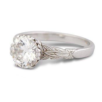 RING, briljantslipad diamant, platina.