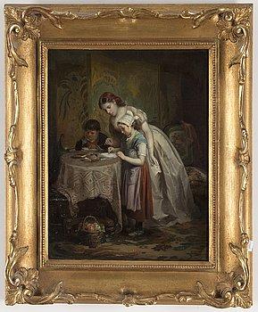 OKÄND KONSTNÄR, 1800-tal, olja på pannå, signerad.
